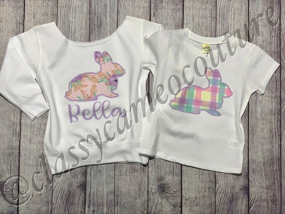 KIDS - Floral or Plaid Easter Bunny Top
