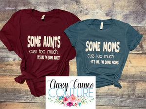 ADULTS- Cuss too much roundneck graphic tee