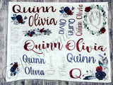 Dark Floral Name Blanket