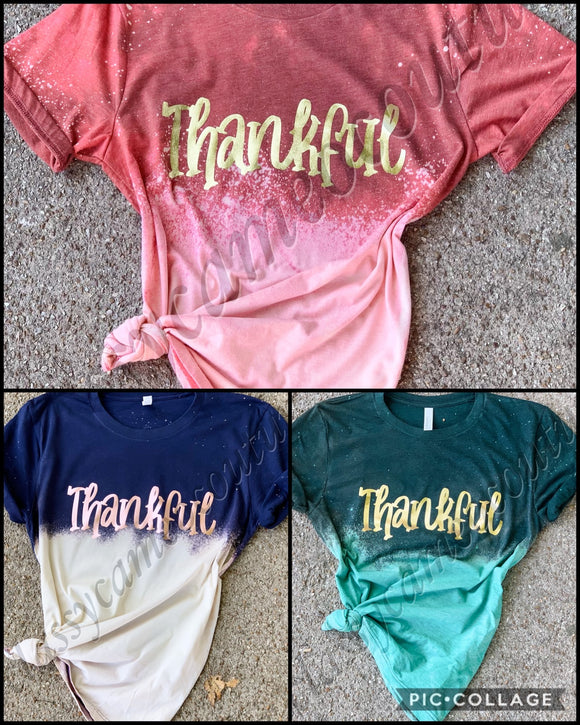 ADULTS - Bleached Thankful Ombre tees
