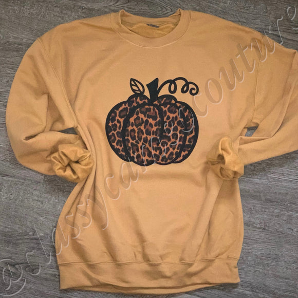 ADULTS - Leopard Pumpkin Crewneck Sweatshirt