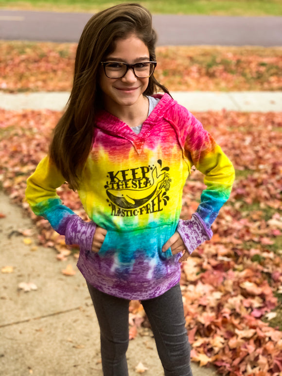 KIDS - Keep the sea plastic free tie dye hoodie