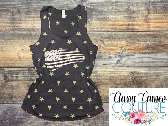 ADULTS - Distressed flag racerback tank