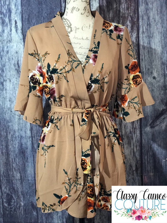 Taupe Floral Chiffon Wrap Romper