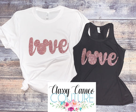 KIDS & ADULTS - Rose Gold Mickey Love Disney Tanks / Tees