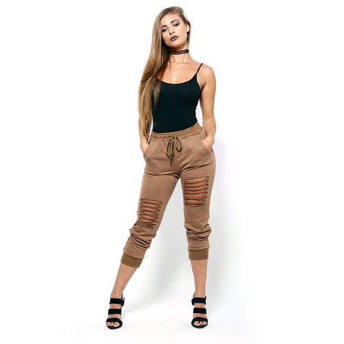 Distressed Brown Joggers-Pants-Shopmissego