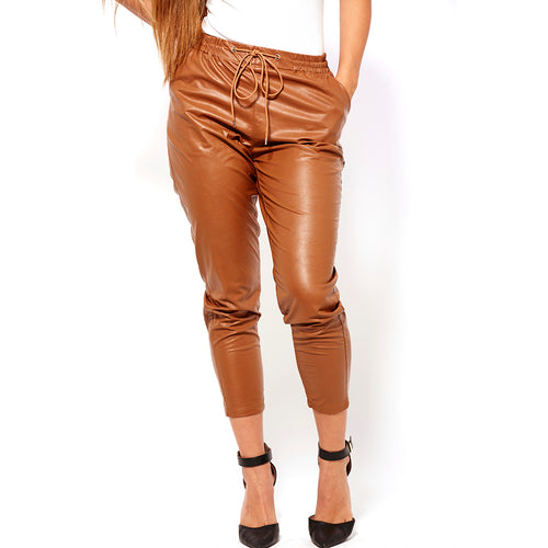 Crop Faux Leather Pant-Pants-Shopmissego
