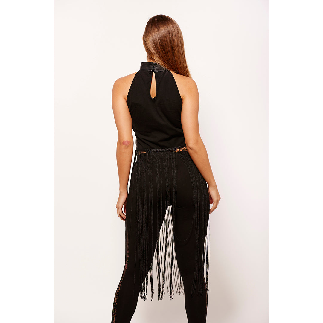 Black faux leather crop top,faux leather fringe crop top,black fringe crop top,black crop top,faux leather top