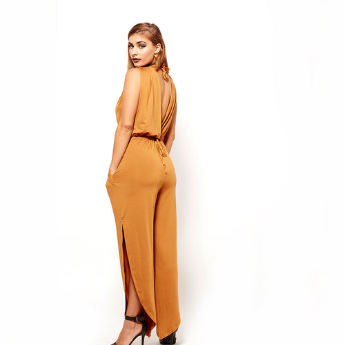 Deep V Neck Jumpsuit-Jumpsuits-Shopmissego