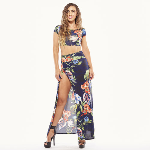 Blue Floral Maxi Skirt Set-Sets-Shopmissego