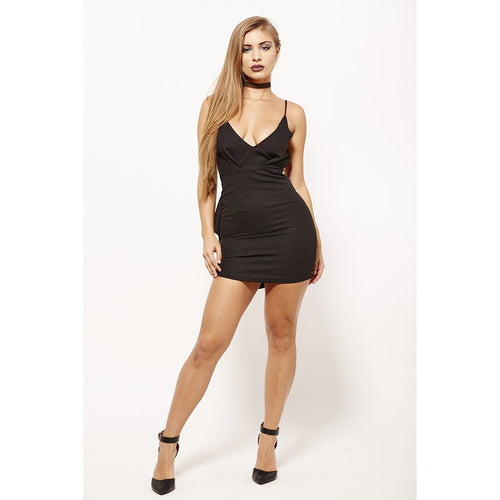 Back Black Out Dress-Dresses-Shopmissego