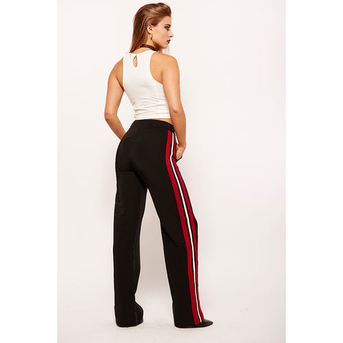 Black Red Stripe Trousers-Pants-Shopmissego