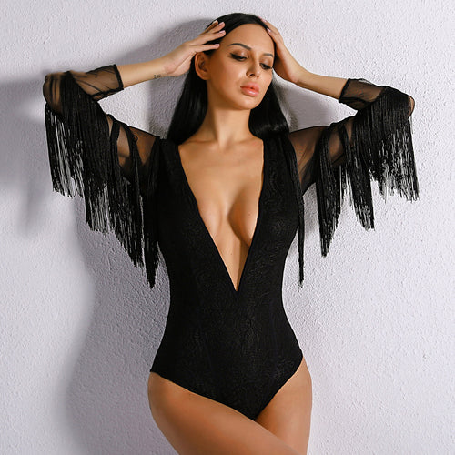 Deep V Women Tassel Bodysuit
