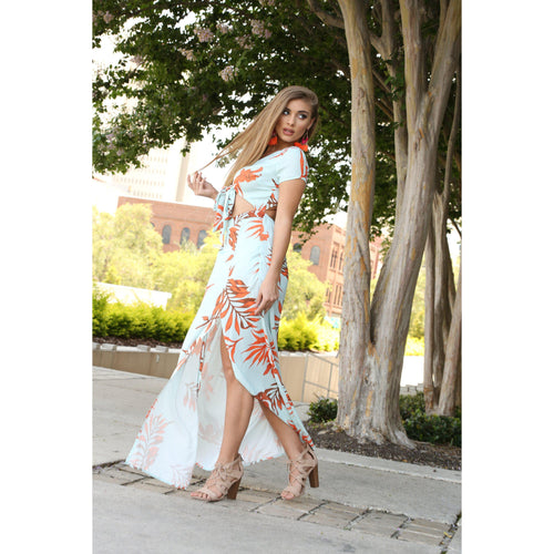 Leaf Print Maxi Dress-Dresses-Shopmissego