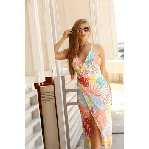 Multi-Leaf Print Dress-Dresses-Shopmissego