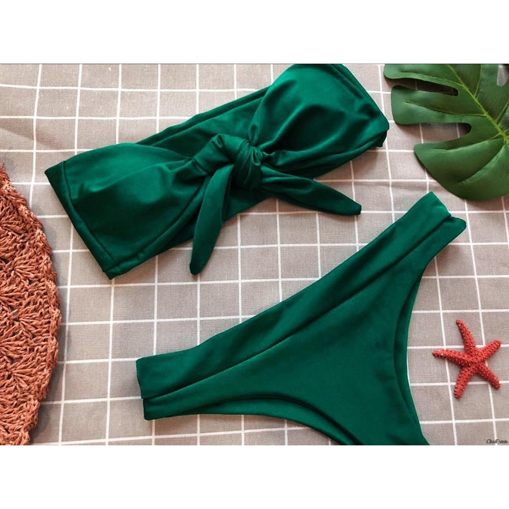 Front Bow Tube Bikini Set
