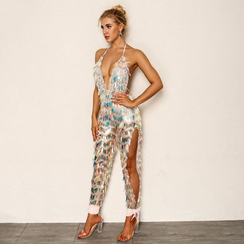 Sequin Elegant High Split Playsuit