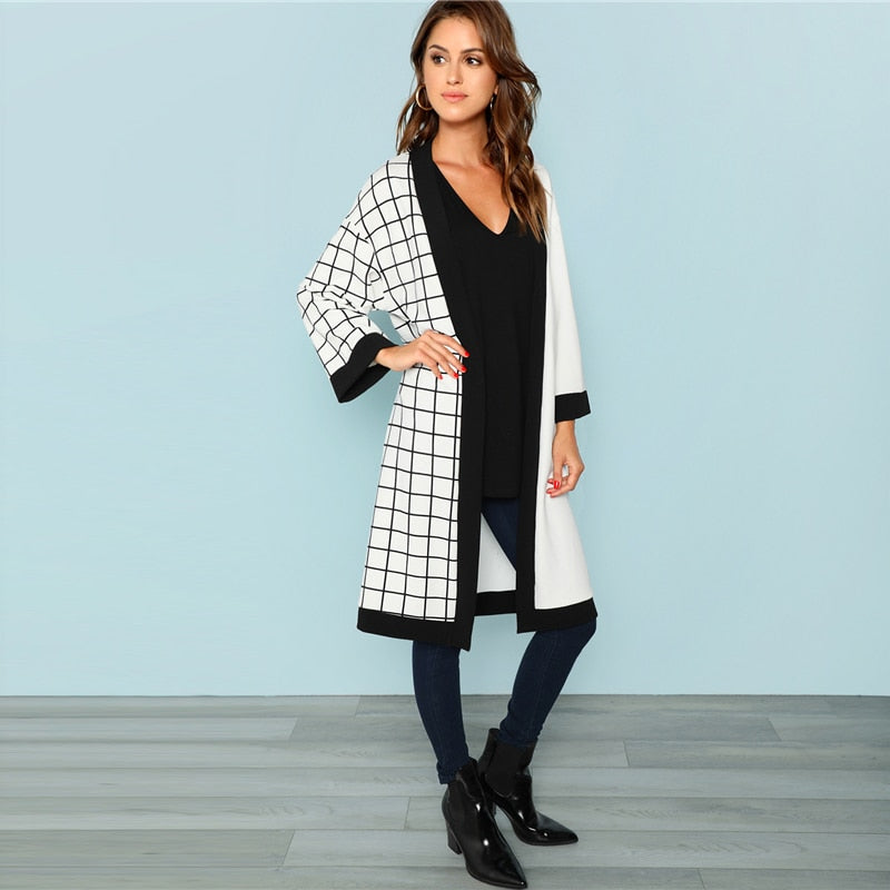 Grid Print Long Sleeve Outerwear