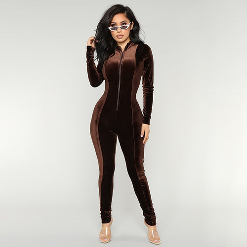Brown Long Sleeve Jumpsuits