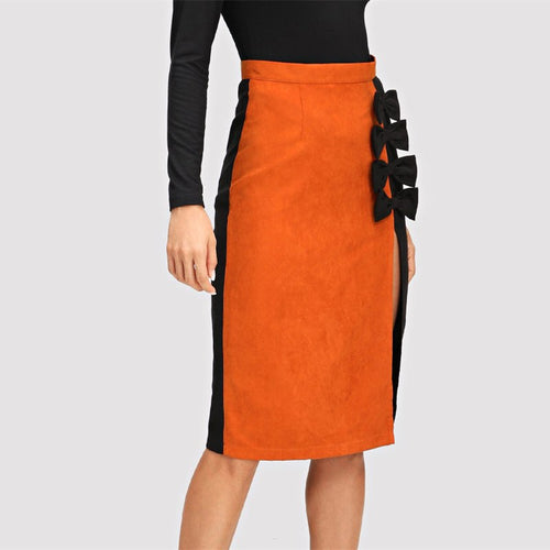 Bow Embellished Pencil Skirt