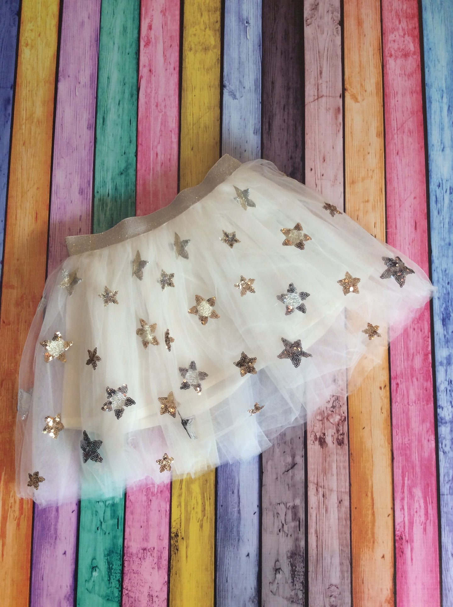 White Tutu Skirt with Gold & Silver Stars