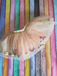 Pink Tutu with Glitter and Pom Poms