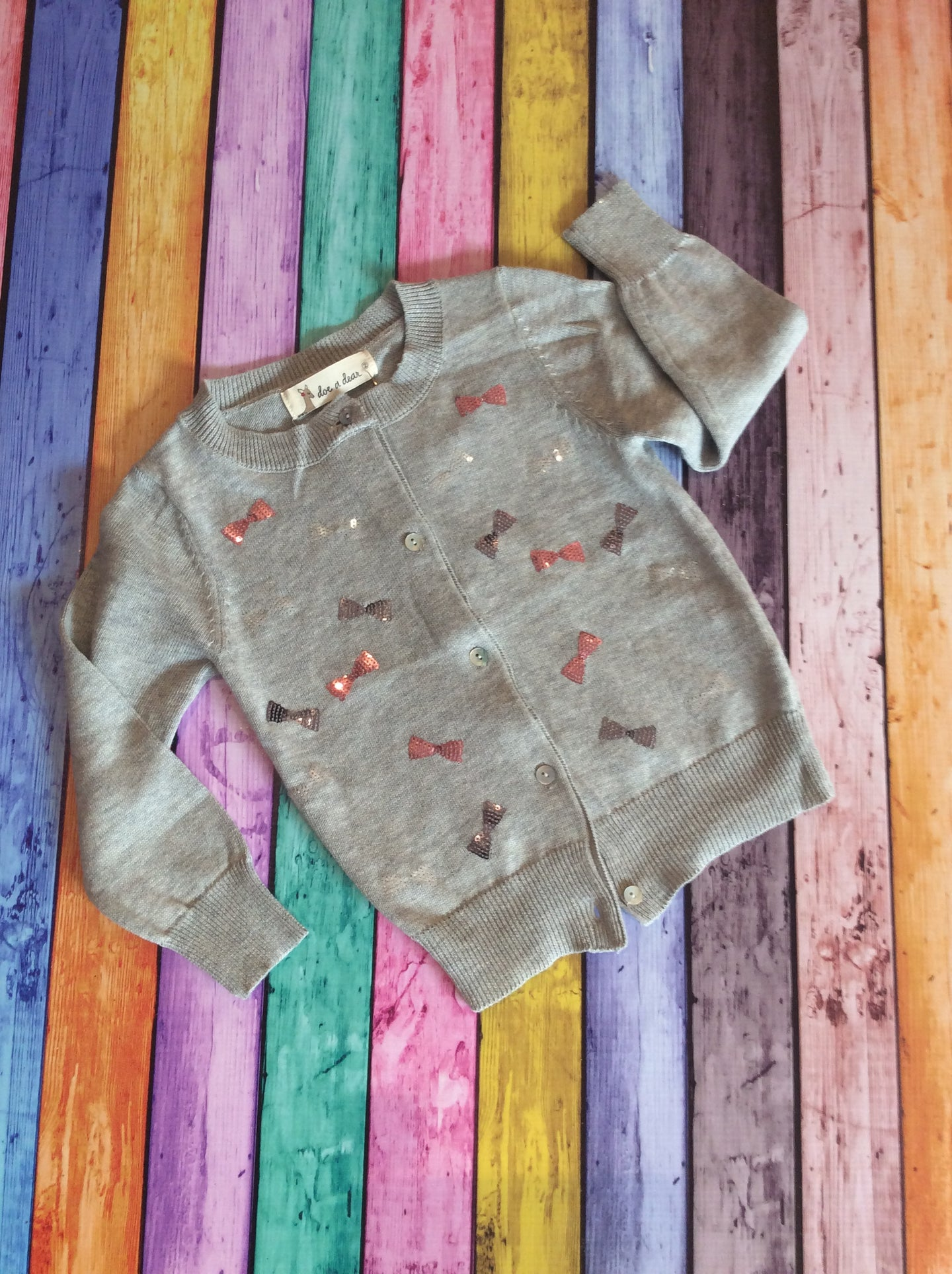 Gray Cardigan with Pink & Silver Bows