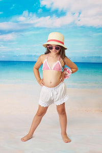 White Shorts with Crochet Trim