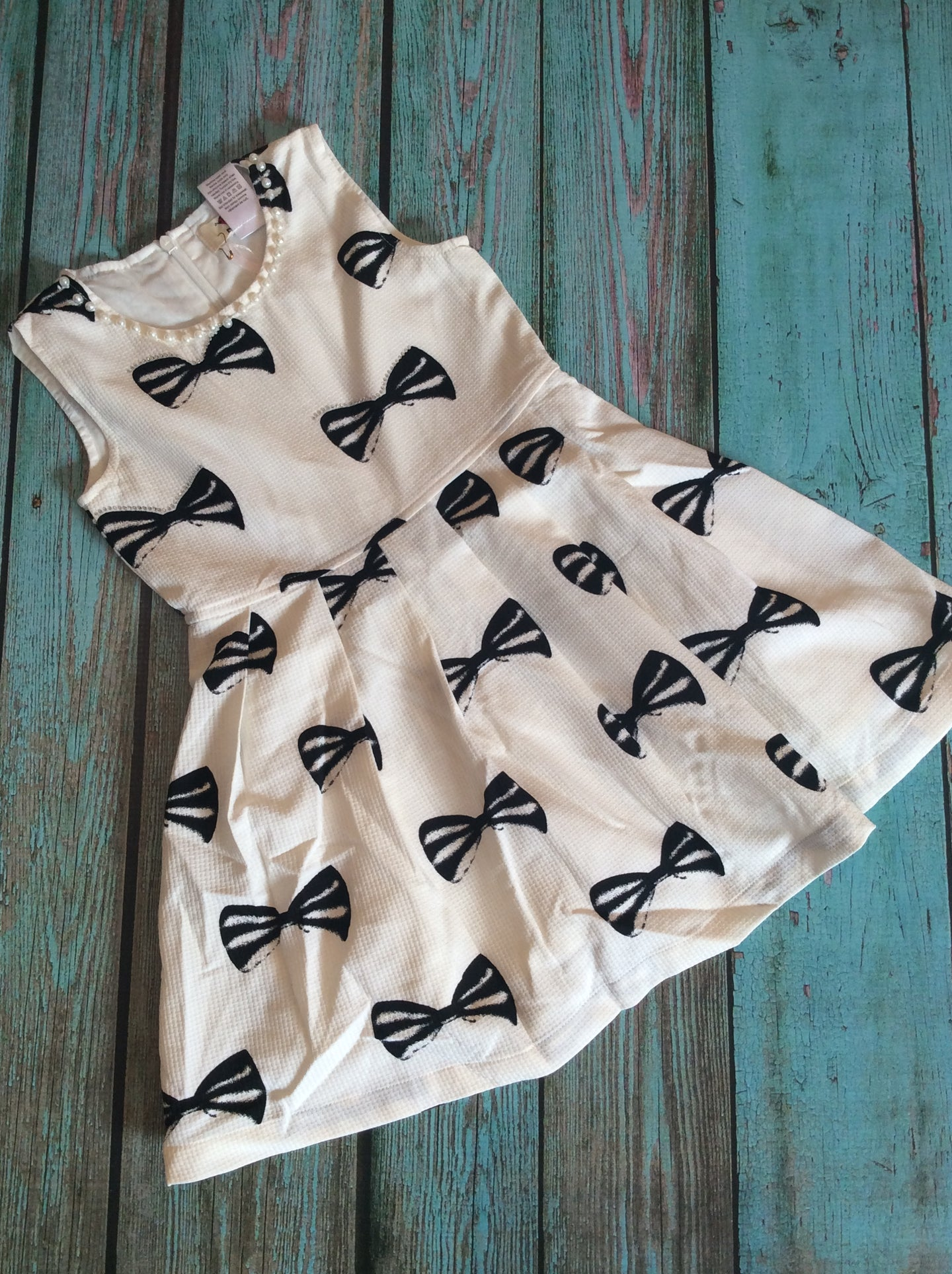 White dress with Black Bows
