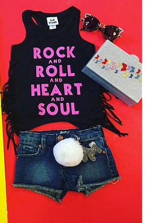 Rock and Roll and Heart and Soul Black Fringe Tank