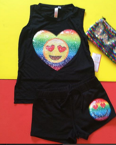 Reversible Sequin Emoji Shorts