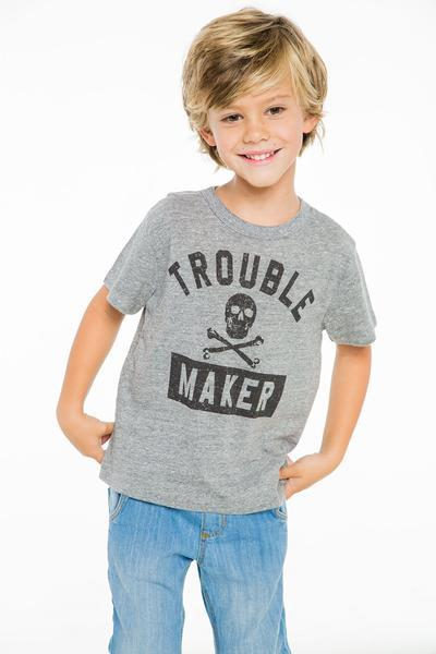 Trouble maker with skull t-shirt