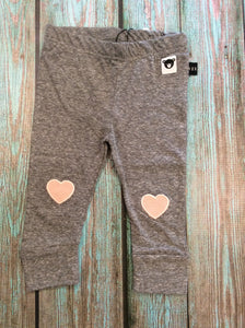 Grey Leggings with Pink Hearts