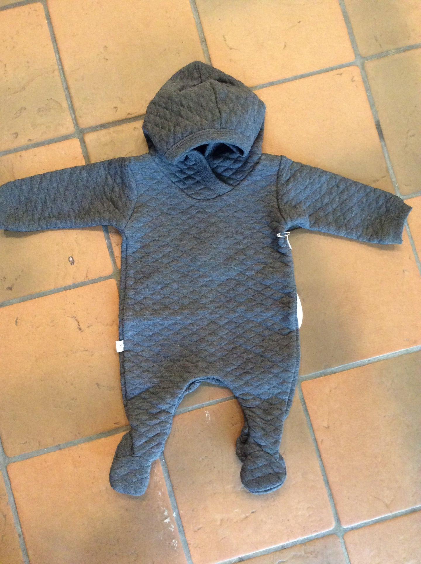 Grey Quilted Onsie with snaps
