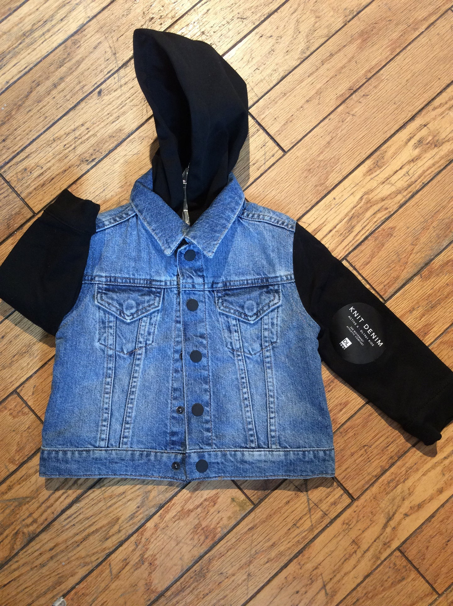 Denim jacket with black hoodie