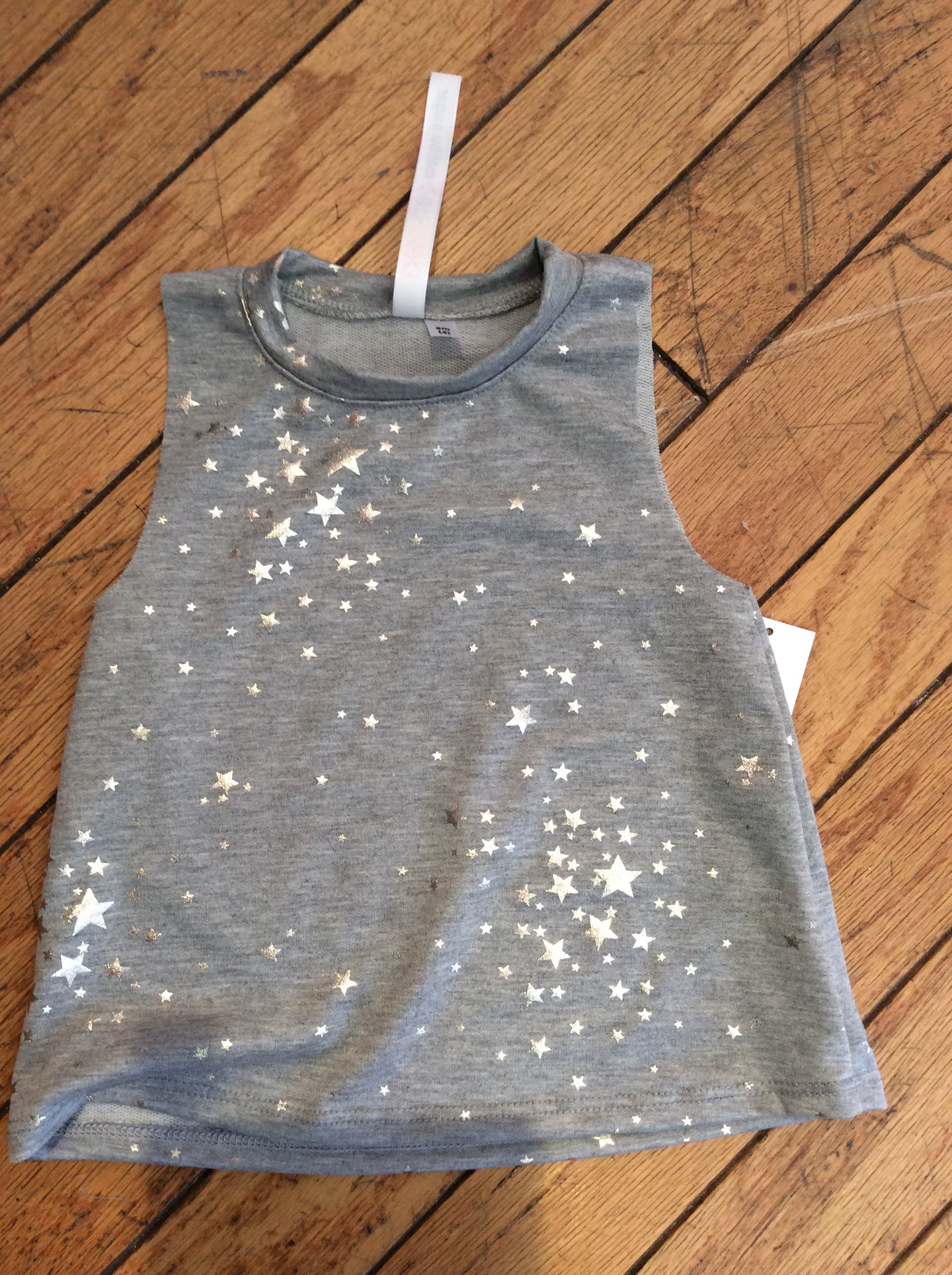 Grey Sleeveless Top with silver stars