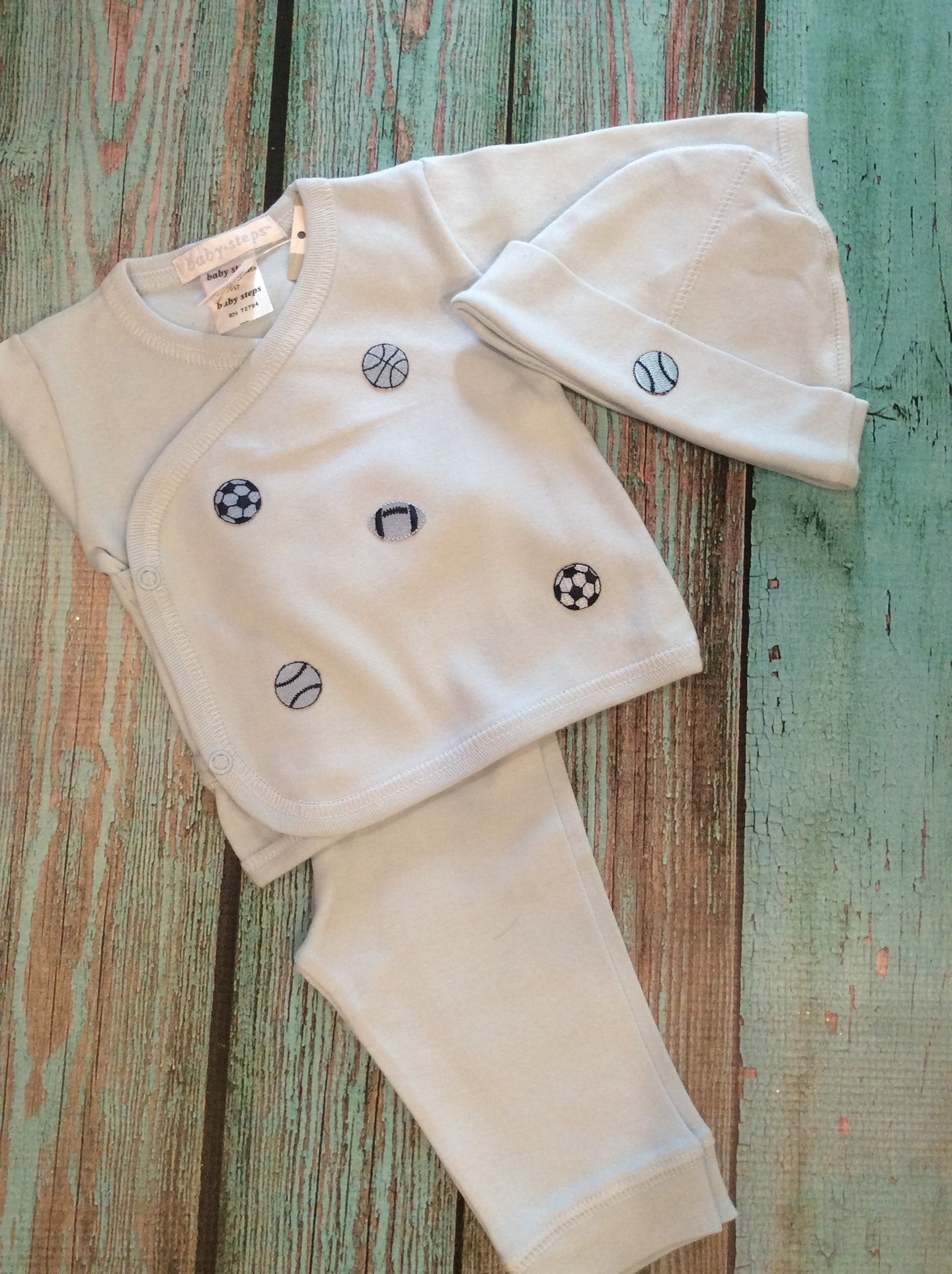Three piece sport themed infant set