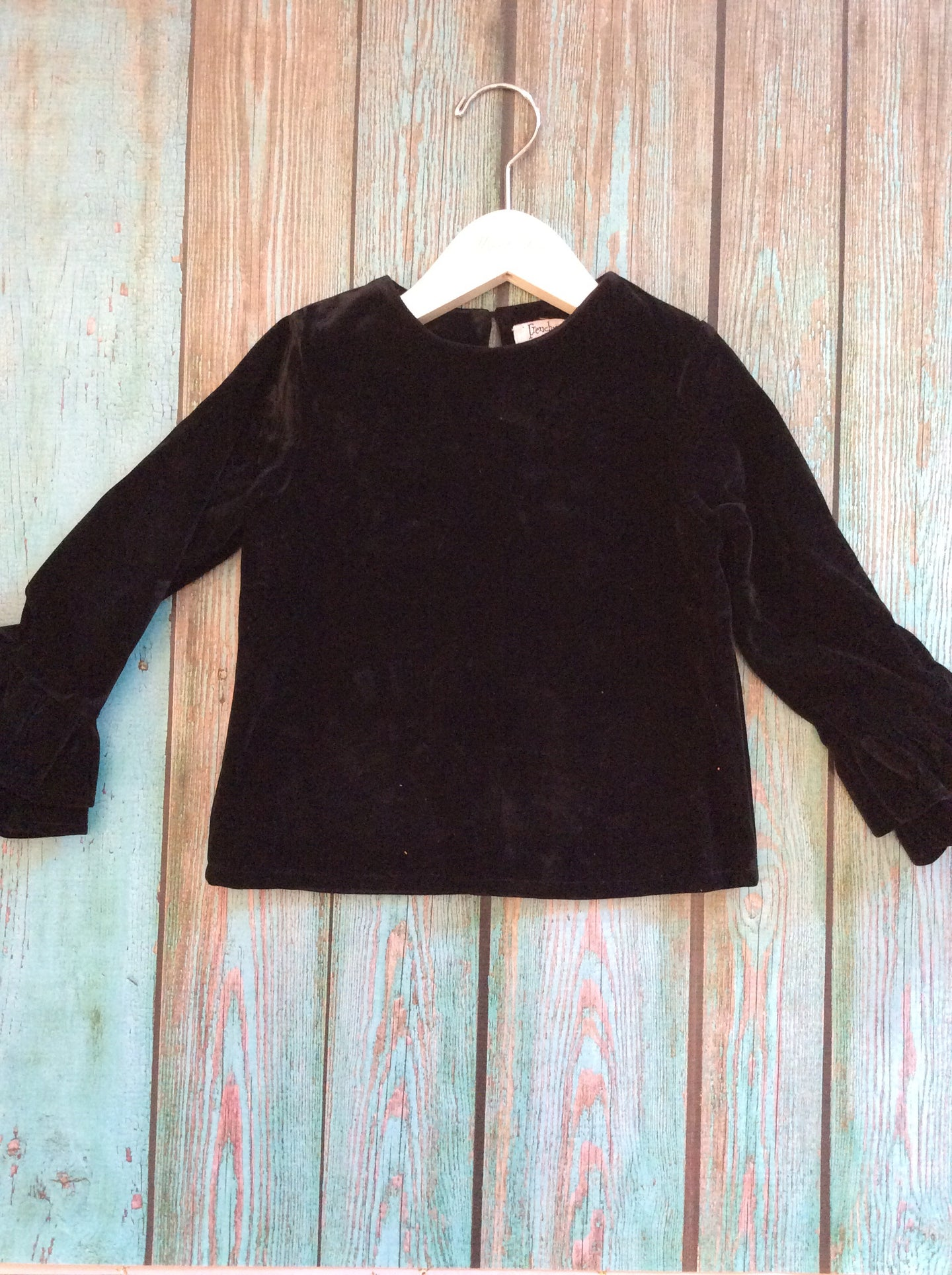 Black Crushed Velvet Ruffle Long Sleeve