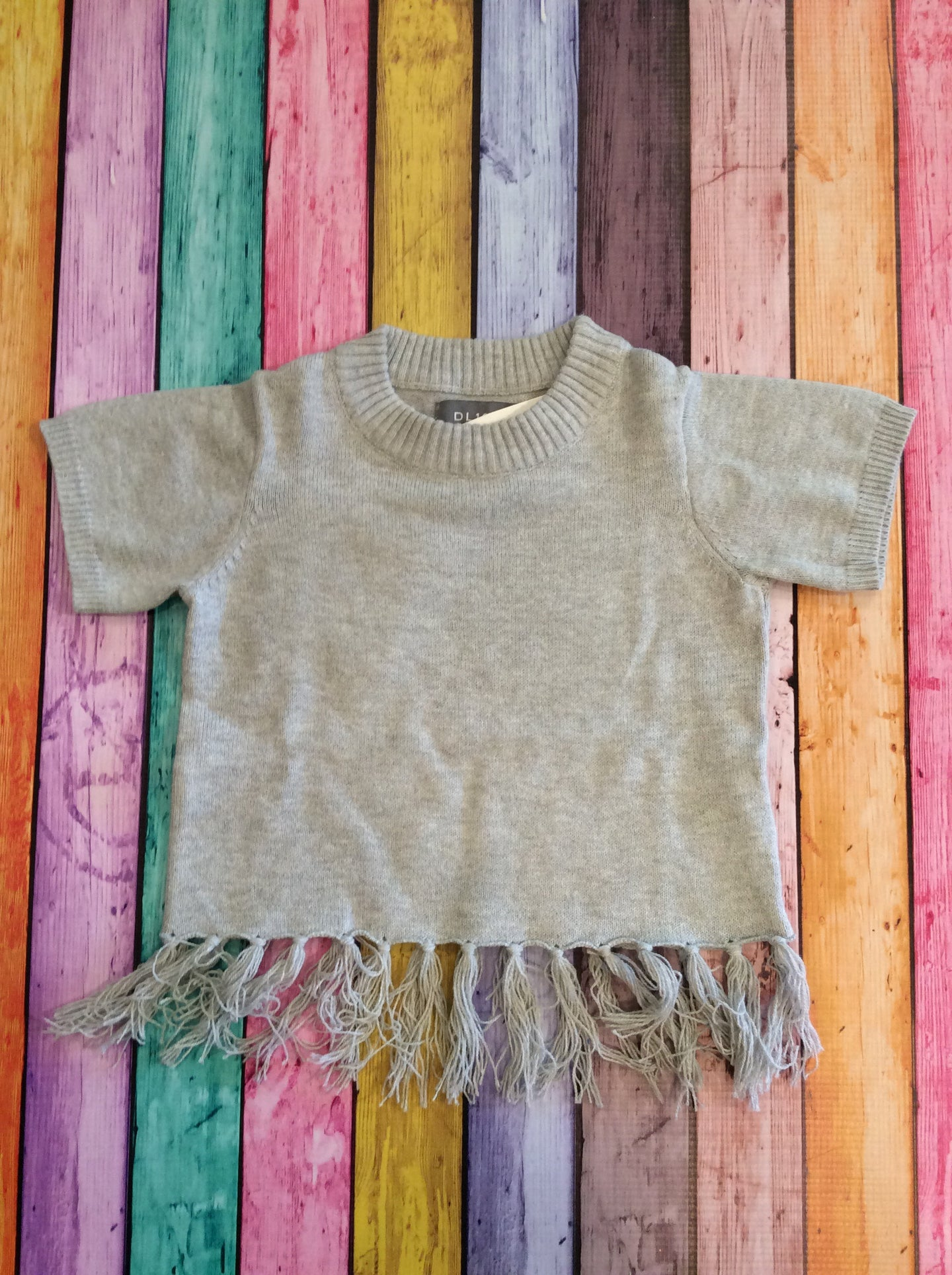 Light Heather Grey Shirt with Fringe