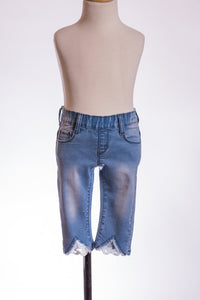 Lace Insert Light Wash Denim Capri