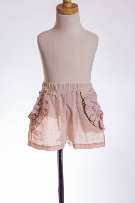 Ruffle Pocket Linen Shorts
