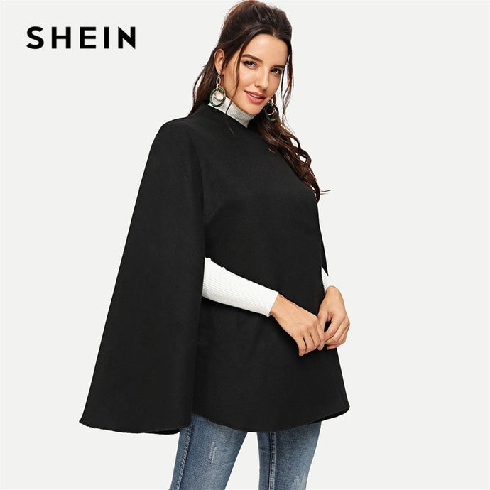 274250ffff SHEIN Black Highstreet Solid Single Button Cloak Sleeve Oversized Cape Coat  Winter Elegant Workwear Women Coat