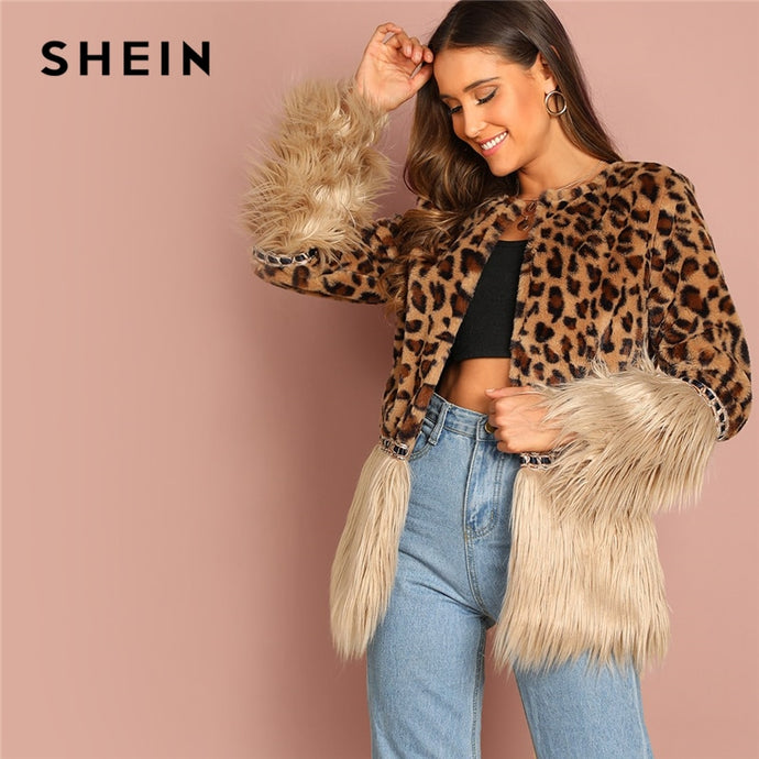 6b00d643d1 SHEIN Casual Multicolor Modern Lady Contrast Faux Fur Leopard Long Sleeve  Coat Women Highstreet Party Outerwear