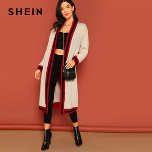 13eafd9425 SHEIN Apricot Drop Shoulder Contrast Trim Open Front Coat Casual 2019 Spring  Long Sleeve Modern Lady