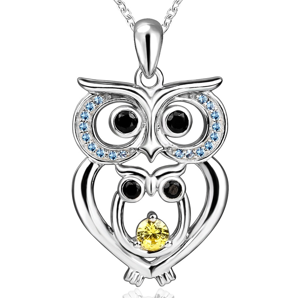 Owl pendant necklace girl 925 sterling silver chain double owl with owl pendant necklace girl 925 sterling silver chain double owl with baby zirconia necklaces pendants aloadofball Image collections