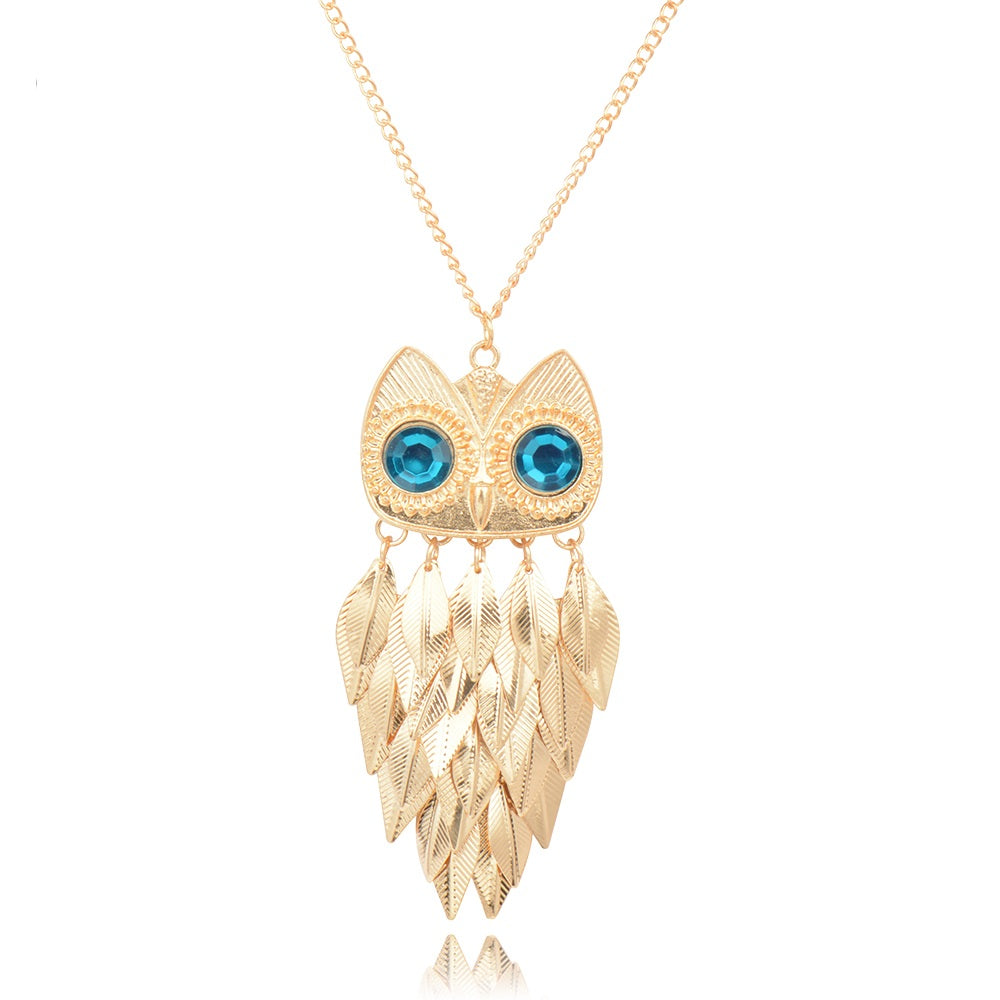Fashion long necklace for women collier vintage gold color crystal fashion long necklace for women collier vintage gold color crystal leaf owl pendant necklaces collares aloadofball