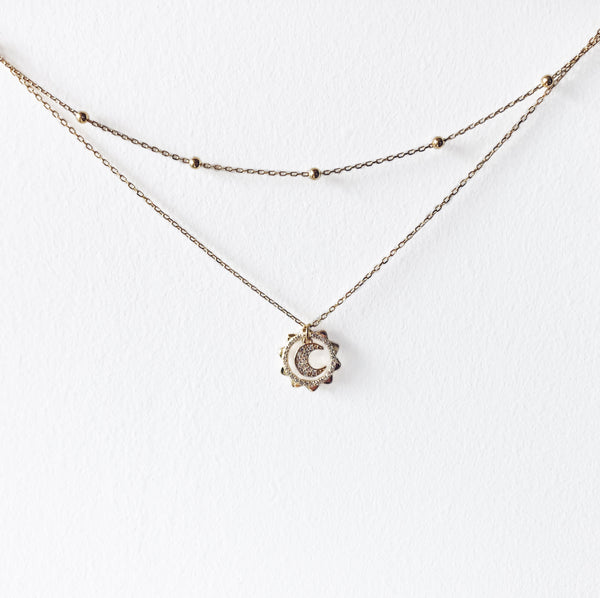 Moon Phases Necklace - 14K Gold Vermeil