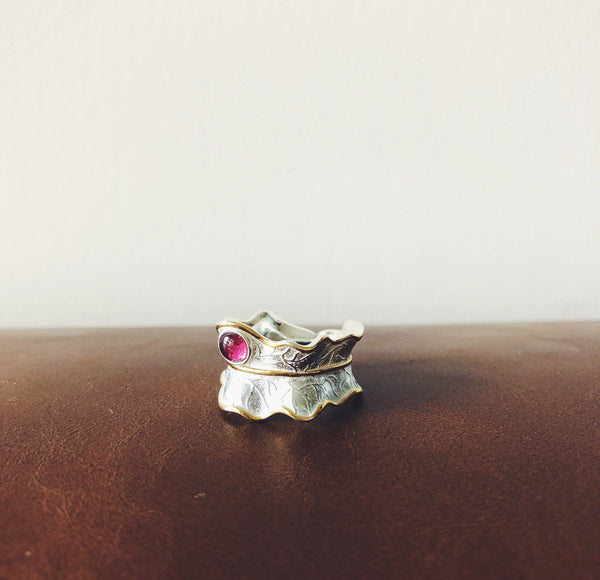 Natural Tourmaline Leaf Ring- 925 Sterling Silver | Bohemian Guru