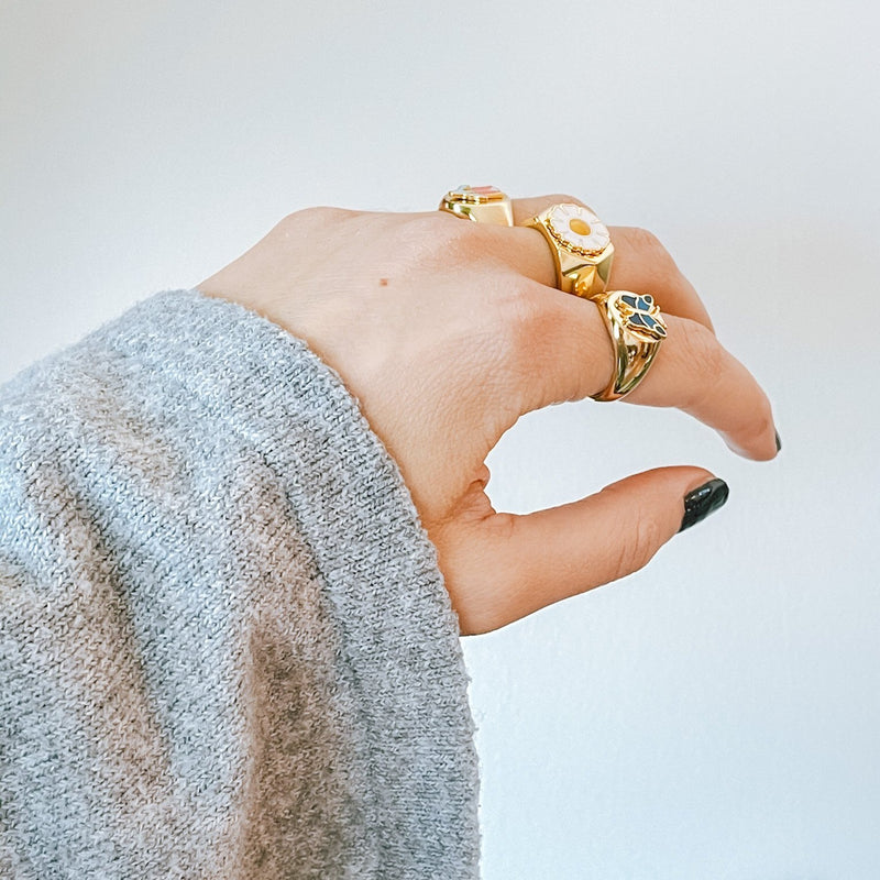 Bluma- Gold Plated & 925 Sterling Silver Ring