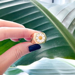 White Daisy - Gold Plated & 925 Sterling Silver Ring